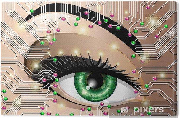 Obraz na płótnie Kobieta Eye Elektroniczny obwód Circuit Board Elektroniczny oczu - Tematy