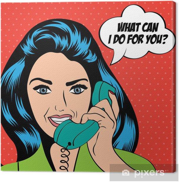 Obraz na płótnie Kobieta na czacie na telefon, pop sztuki ilustracji - Tematy