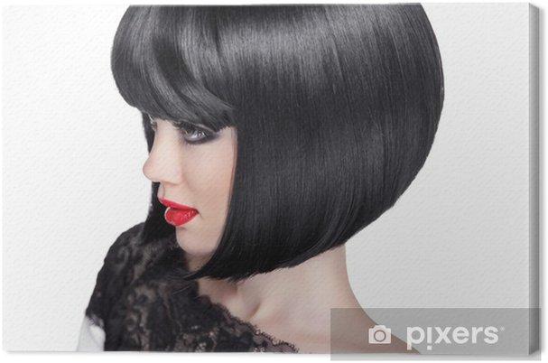 Obraz Na Płótnie Kobieta Portret Brunetka Czarne Krótkie Fryzury Moda Uroda