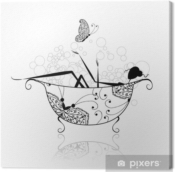 Obraz na płótnie Kobieta w łazience z pianki do projektowania - Naklejki na ścianę