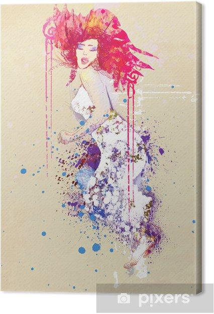 Obraz na płótnie Kobieta w letniej sukience (rysunek) - Moda