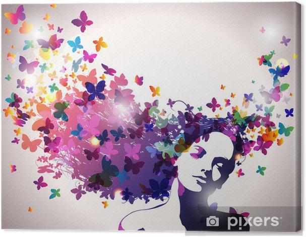 Obraz na płótnie Kobieta z motylami we włosach. - Moda
