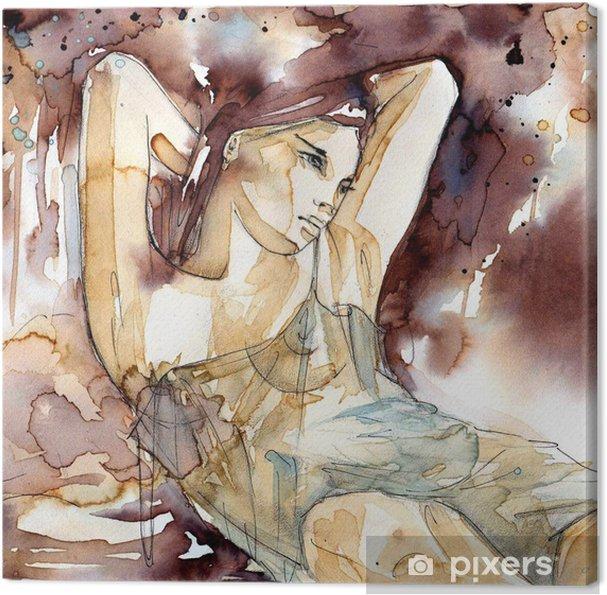 Obraz na płótnie Kobieta z rękoma pod głową - Do salonu fryzjerskiego