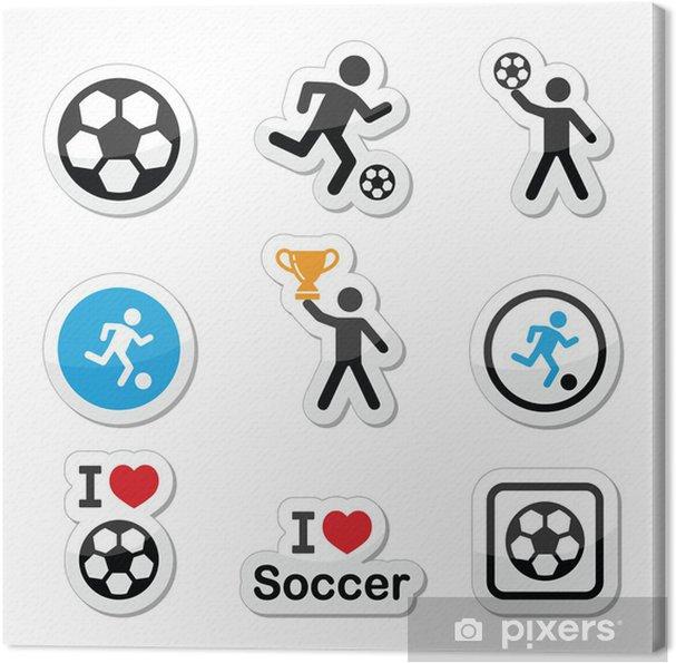 Obraz na płótnie Kocham piłkę nożną lub piłkę nożną, piłkę kopać mężczyzna zestaw ikon wektorowych - Znaki i symbole