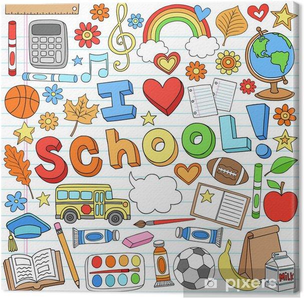 Obraz na płótnie Kocham Szkołę Powrót do przyborów szkolnych Doodle Vector Design - Styl życia