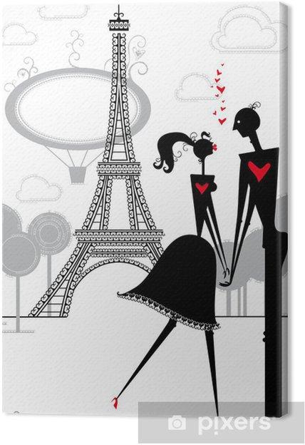 Obraz na płótnie Kochankowie w Paryżu. Romantyczne dni w Paryżu. - Sporty na świeżym powietrzu