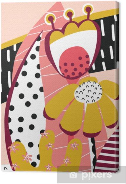 Obraz na płótnie Kolaż kwiatów w kolorze różowym, złotym, białym i czarnym. streszczenie kwiatowy wektor elementów papieru kolaż. ręka rysująca nowożytna ilustracja. skandynawskie mieszkanie sztuka - plakat, zaproszenie, karty, sztuka ściana. - Rośliny i kwiaty