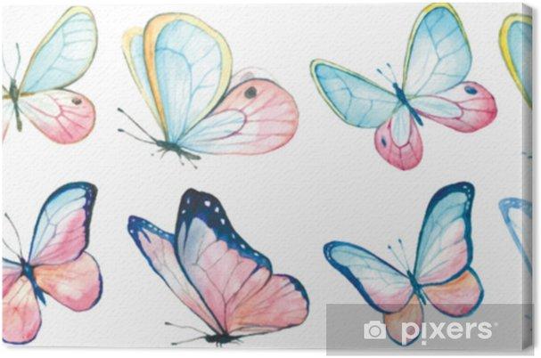 Obraz na płótnie Kolekcja akwarela latających motyli. - Zwierzęta