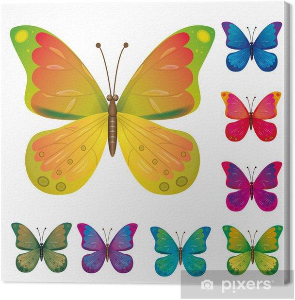 Obraz na płótnie Kolekcja kolorowych motyli - Fikcyjne zwierzęta