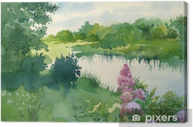 Obraz na płótnie Kolekcja Pejzaż akwarela: w pobliżu rzeki - Tematy