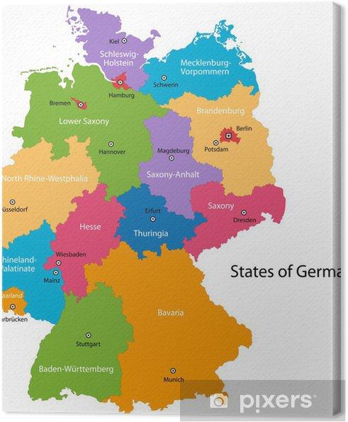 Obraz na płótnie Kolorowa mapa Niemcy z głównych miast i regionów - Europa