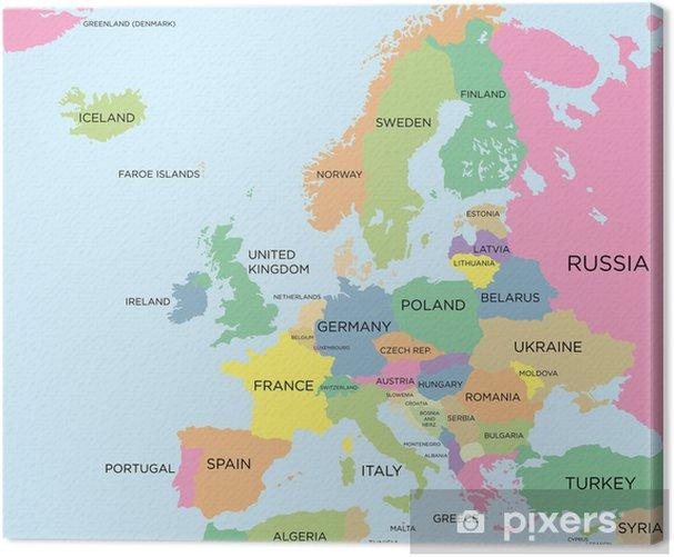 Obraz na płótnie Kolorowa mapa polityczna Europy - Tematy