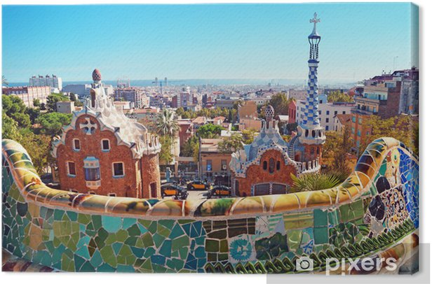 Obraz na płótnie Kolorowe dachy Barcelony - Tematy