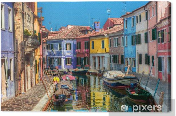 Obraz na płótnie Kolorowe domy i kanał na wyspie Burano koło Wenecji, Włochy. - Tematy