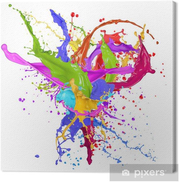 Obraz na płótnie Kolorowe farby rozpryskiwania wyizolowanych na białym - Abstrakcja