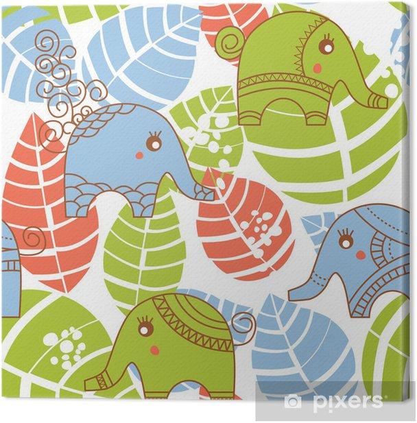 Obraz na płótnie Kolorowe jungle szwu ze słoniami - Pory roku