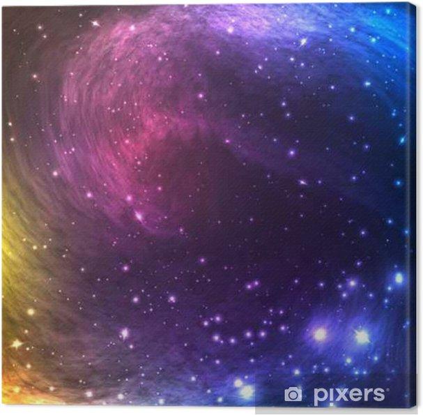 Obraz na płótnie Kolorowe Kosmos Galaxy tle z światła, gwiazdy świecące i Nebula. Ilustracja wektora dla grafika, ulotki, plakaty, strony banerów. - Zasoby graficzne