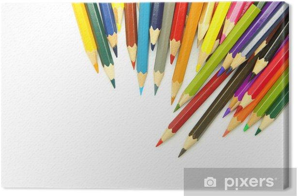 Obraz na płótnie Kolorowe kredki na białym tle - Sztuka i twórczość
