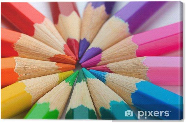 Obraz na płótnie Kolorowe kredki, z bliska - Inne przedmioty