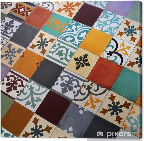 Obraz na płótnie Kolorowe płytki cementowe ziemne - Przemysł ciężki