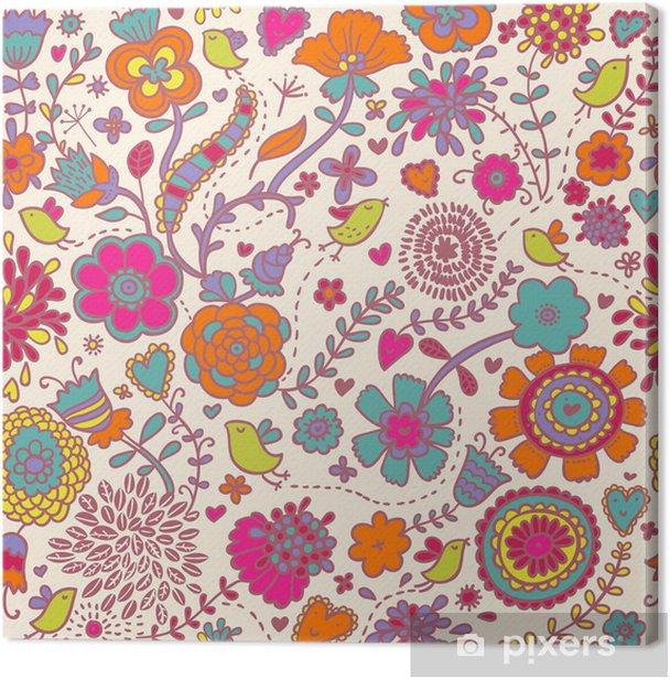 Obraz na płótnie Kolorowe powtarzalne deseń - ptaki w kwiatach - Tematy