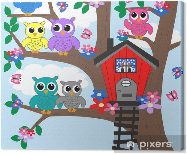 Obraz na płótnie Kolorowe sowy na drzewie - Tematy