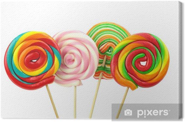 Obraz na płótnie Kolorowe spiralne lizaki na białym tle - Słodycze i desery