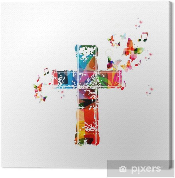 Obraz na płótnie Kolorowe tło z motyli krzyż - Naklejki na ścianę