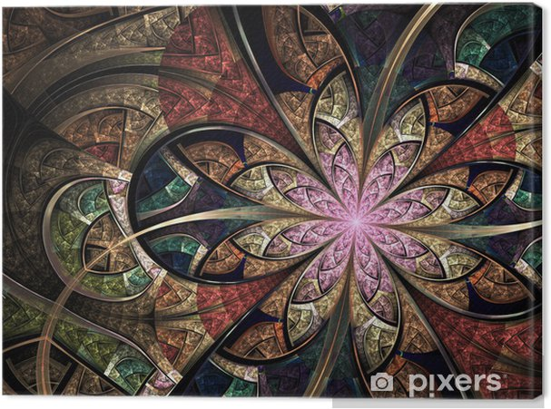 Obraz na płótnie Kolorowy kwiatowy witraże, sztuka fraktalna Ilustracja cyfrowa - Tła