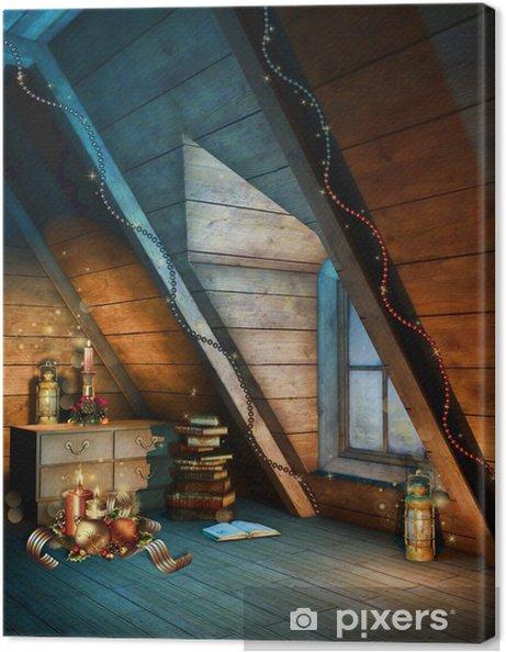 Obraz na płótnie Kolorowy strych ze świątecznymi ozdobami - Święta międzynarodowe