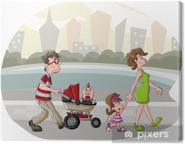 Obraz na płótnie Kolorowy szczęśliwa rodzina kreskówki spaceru w parku miejskim - Wartości rodzinne