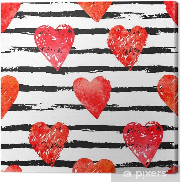 Obraz na płótnie Kolorowy wzór z pędzla i serca - Hobby i rozrywka