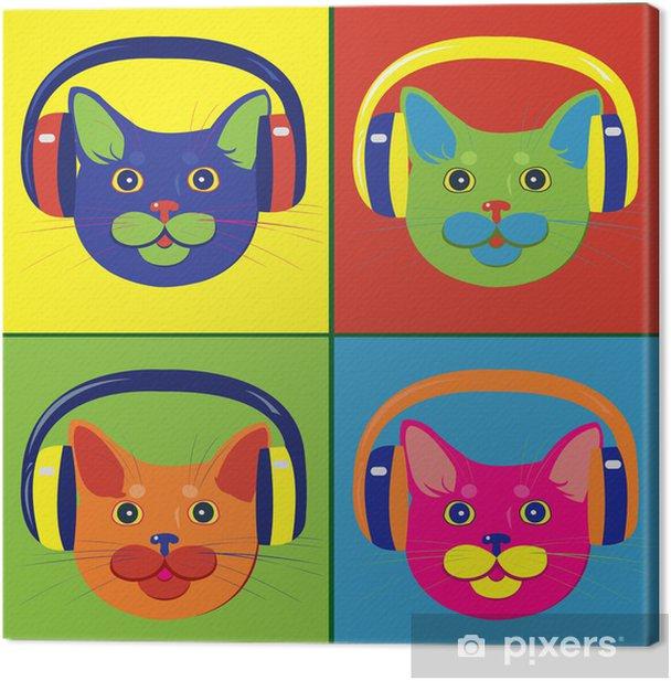 Obraz na płótnie Kolorowych kotów w słuchawkach muzycznych - Ssaki