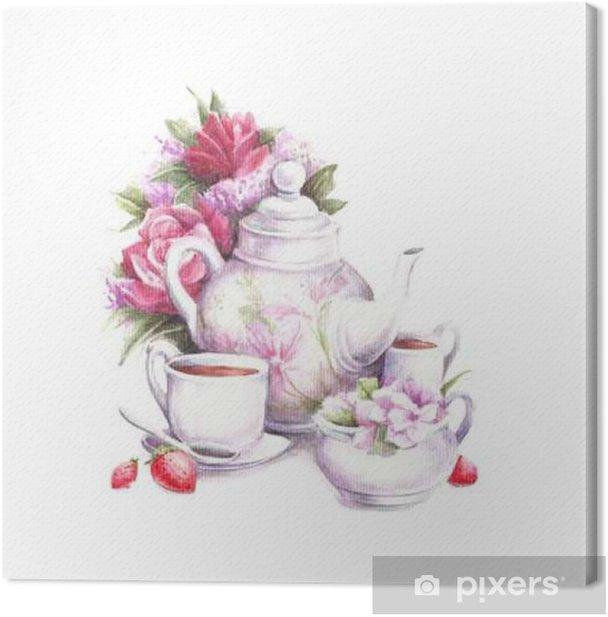 Obraz na płótnie Kompozycja z kwiatów, czajnik, kubki i truskawek. Ilustracja akwarela. - Napoje