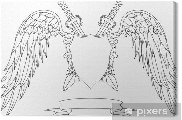 Obraz na płótnie Kompozycja z Mieczami, skrzydeł, znaczek i wstążką - Tła