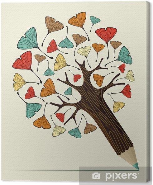 Obraz na płótnie Koncepcja drzewo ginkgo liść ołówek - Edukacja