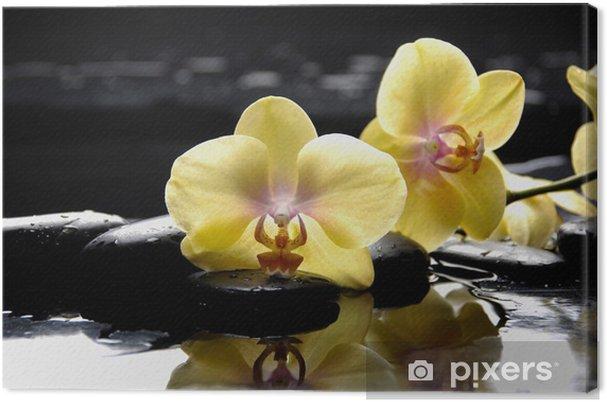 Obraz na płótnie Koncepcja Spa-żółty oddział orchidea z mokrym tle - Uroda i pielęgnacja ciała