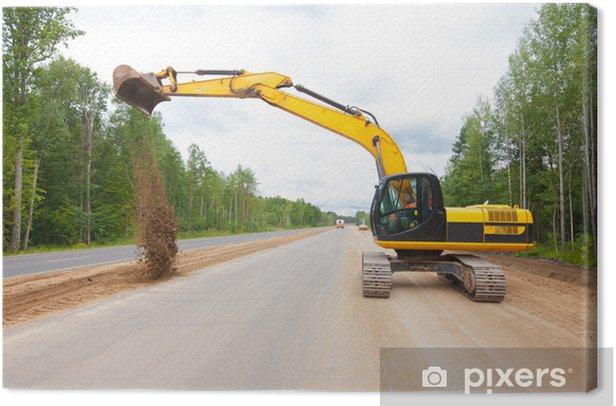 Obraz na płótnie Koparka pracuje na budowie drogi - Przemysł ciężki