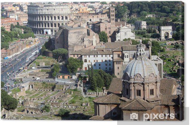 Obraz na płótnie Kopuła kościoła i Koloseum w tle - Europa