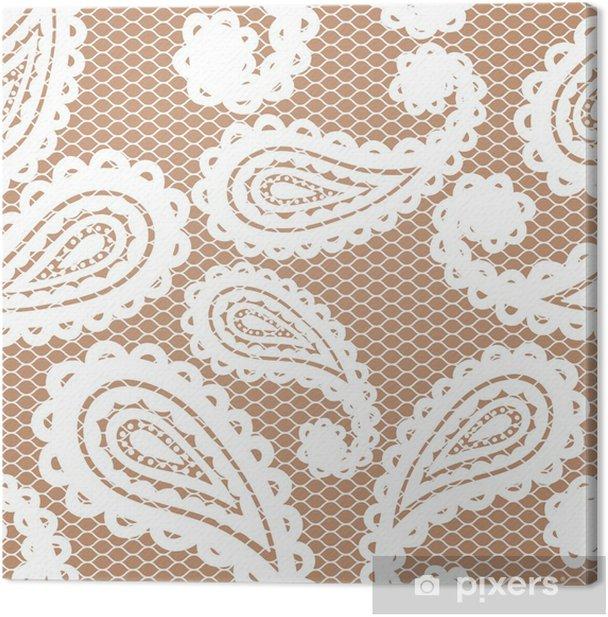 Obraz na płótnie Koronki biały szwu z Paisley na beżowym tle - Style