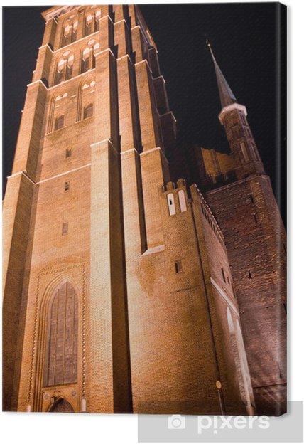 Obraz na płótnie Kościół Mariacki w Gdańsku nocą - Europa