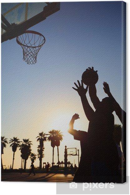 Obraz na płótnie Koszykarze sylwetki o zachodzie słońca - Sporty indywidualne