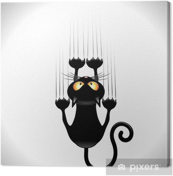 Obraz na płótnie Kot kreskówka zarysowania czarny kot na ścianie ściana zarysowania - Ssaki