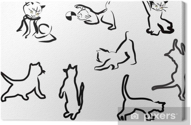 Obraz na płótnie Kot szkice kolekcji samodzielnie na białym tle - Ssaki