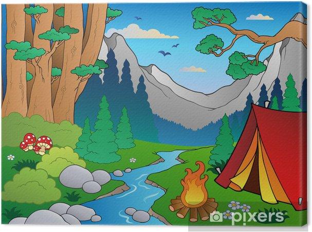 Obraz na płótnie Krajobraz las Cartoon 4 - Krajobraz wiejski
