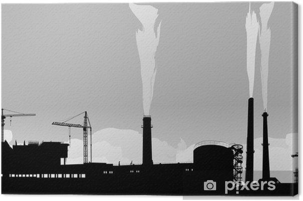Obraz na płótnie Krajobraz przemysłowy z costructions i żurawie - Przemysł ciężki