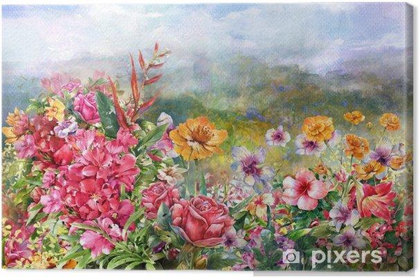 Obraz na płótnie Krajobraz stylu akwarela malarstwo wielobarwne kwiaty - Hobby i rozrywka