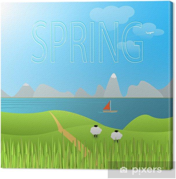 Obraz na płótnie Krajobraz wektor wiosna - Pory roku