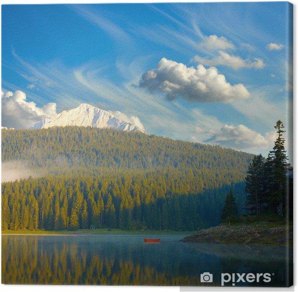 Obraz na płótnie Krajobraz z błękitne niebo, góry, jeziora i łodzi samotny. Durmit - Natura i dzicz