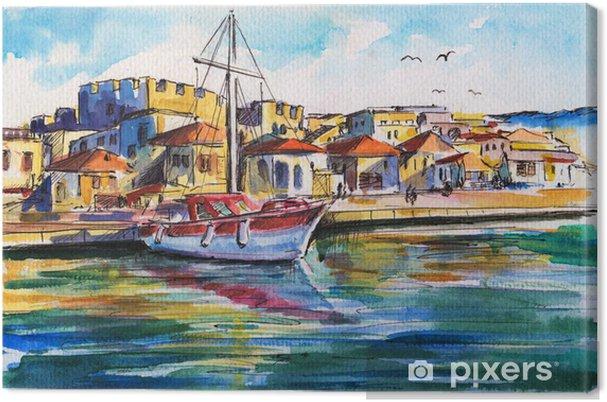 Obraz na płótnie Krajobraz z łodzi w porcie - Wakacje